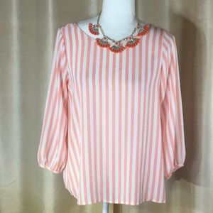 EUC Lovely Day Striped Salmon/White Top, S